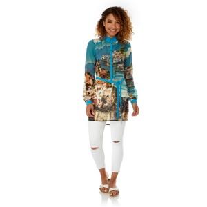 Yumi Blue Amalfi Coast Print Shirt Dress