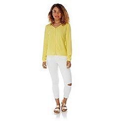 Yumi - Yellow Zip Front Long Sleeve Blouse