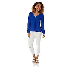 Yumi - Blue Zip Front Long Sleeve Blouse