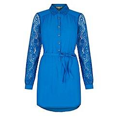 Yumi - Blue Lace Sleeve Shirt Dress