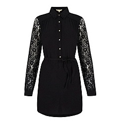 Yumi - Black Lace Sleeve Shirt Dress