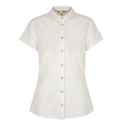 Yumi - Cream Embroidered Collar Peplum Shirt