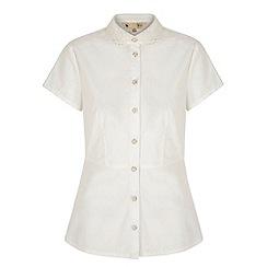 Yumi - Cream Embroidered Collar Peplum Shirt