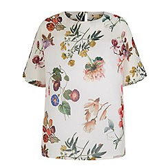 Yumi - Cream Botanical Floral Print Oversized Top