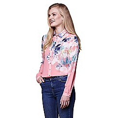 Yumi - Orange watercolour floral shirt