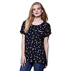 Yumi - Navy floral & butterfly print shell top