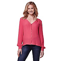 Yumi - Pink zip front blouse
