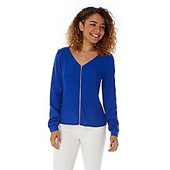 Yumi - Blue zip front blouse