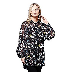 Yumi - Black floral tunic blouse