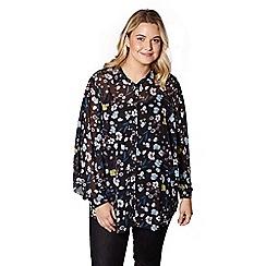 Yumi Curves - Black floral print tunic top