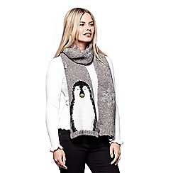 Yumi - Grey knitted penguin scarf