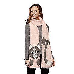 Yumi - Pink knitted cat scarf
