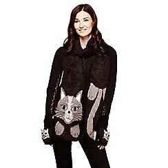 Yumi - Black fingerless cat mittens