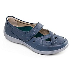 Padders - Mid blue leather 'Cello' wide fit shoes