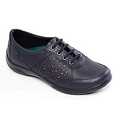 Padders - Navy leather 'Harp' wide fit lace up shoes