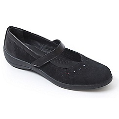 Padders - Black leather 'Rowyn' mid heel wide fit slip on shoes