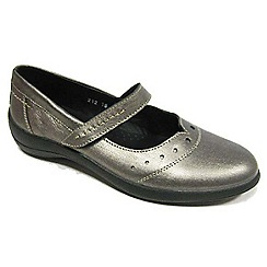 Padders - Metallic leather 'Rowyn' mid heel wide fit slip on shoes
