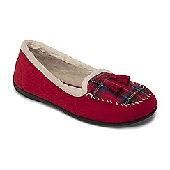 Padders - Red 'Tassel' wide fit moccasin slippers