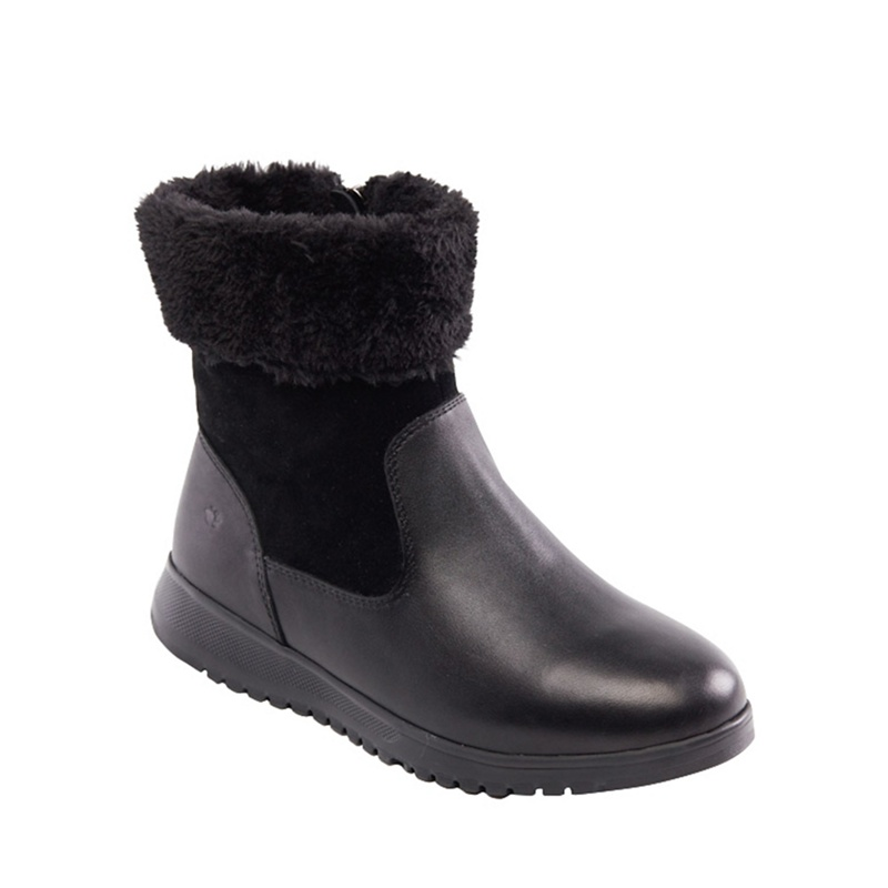 2b24bf7a9b9a Padders - Black Leather  Re Play  Mid Heel Wide Fit Ankle Boots ...