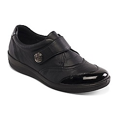 Padders - Black leather 'Gaby' wide fit shoes