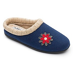 Padders - Navy 'Freesia' wide fit slippers