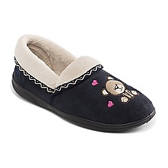 Padders - Navy 'Teddy' wide fit slippers