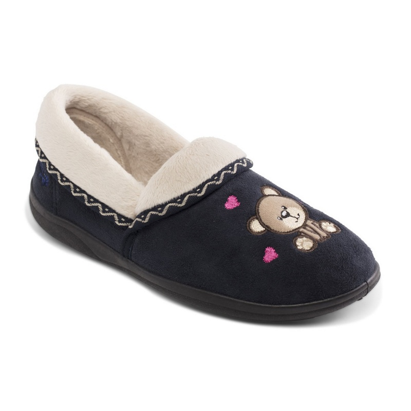 1fd8a3872e11 Padders - Navy  Teddy  Wide Fit Slippers