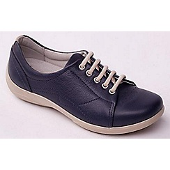 Padders - Navy leather 'Jessica' wide fit lace up shoes