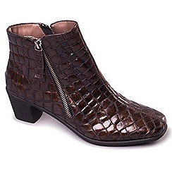 Aerosoles - Bronze Aerosoles 'Elbow Croc' Womens Leather Ankle Boots