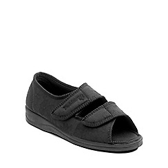 Padders - Black 'Lydia' womens memory foam slippers