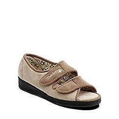 Padders - Camel 'Lydia' womens memory foam slippers