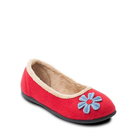 Padders - Red +Happy+ ballerina memory foam slippers