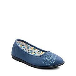 Padders - Blue 'Joy' ballerina memory foam slippers