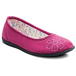 Padders - Cerise 'Joy' ballerina memory foam slippers