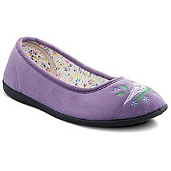 Padders - Lilac 'Tweet' ballerina memory foam slippers