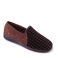 Padders - Light brown 'Albert' wide fit slippers