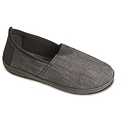 Padders - Black Combi 'Blake' men's memory foam slippers