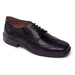 Padders - Black leather Reid' wide fit lace up shoes