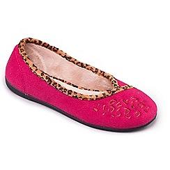 Padders - Dark Pink 'Savannah' ballerina memory foam slippers