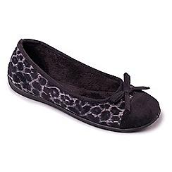 Padders - Black 'Wild' ballerina memory foam slippers