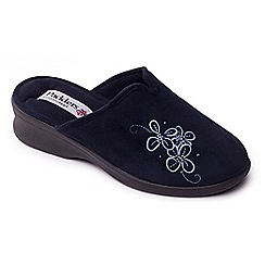 Padders - Navy 'Padders Sable' womens memory foam slippers