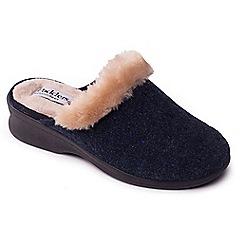 Padders - Navy 'Scarlet' wide fit mule slippers