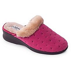 Padders - Dark pink 'Scarlet' wide fit slippers