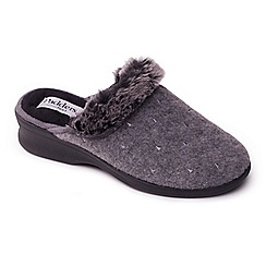 Padders - Grey 'Scarlet' wide fit mule slippers