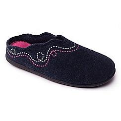 Padders - Navy 'Aspen' women's felt memory foam slippers