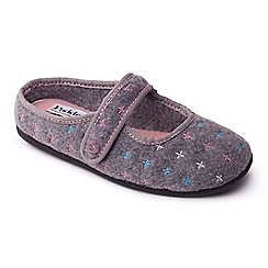 Padders - Grey 'Heidi' women's felt memory foam slippers