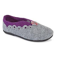Padders - Grey Combi 'Hannah' women's felt memory foam slippers