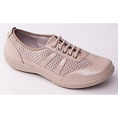 Padders - Beige 'Julie' women's lace up leather trainers