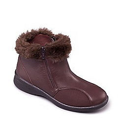 Padders - Brown leather 'Adele' wide fit boots