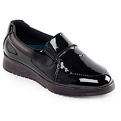 Padders - Black Patent 'Retreat' slip on shoe